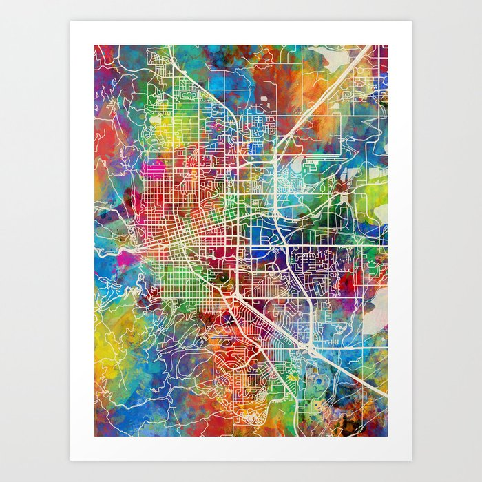 Boulder Colorado City Map Kunstdrucke