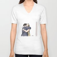 hug V-neck T-shirts featuring Hug by Alessia Pelonzi