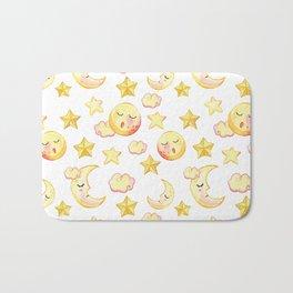 Yellow pink  watercolor dreamy stars moon sun pattern Bath Mat