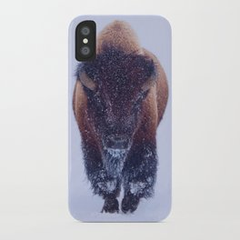 Bison Moving Through the Snow in Yellowstone National Park #Socety6 #bison iPhone Case