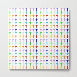 Christian Cross 37 Multicolor Metal Print