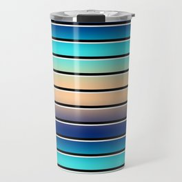 Beach Stripe 5, Variegated and Black and White Stripes Travel Mug