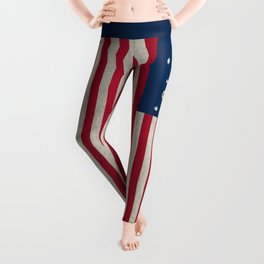 1776 Bennington flag - grungy Vintage Leggings