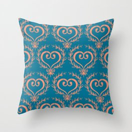 Burnout Scrolled Heart Throw Pillow