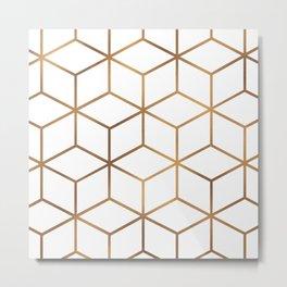White and Gold - Geometric Cube Design Metal Print
