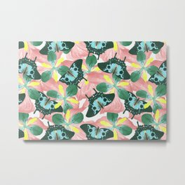 Abstract butterfly floral backgroundwith blank space, remix from The Naturalist's Miscellany  Metal Print