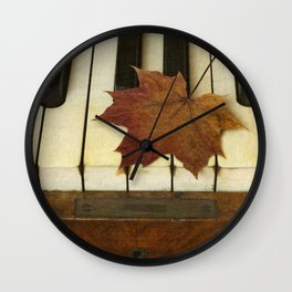 Maple Leaf and Piano Wall Clock