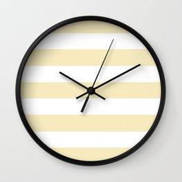 Lemon meringue - solid color - white stripes pattern Wall Clock
