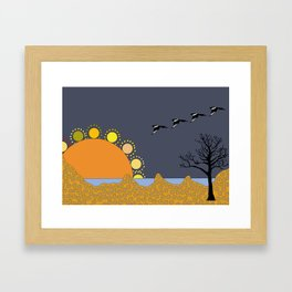 Magpies in sunset Framed Art Print