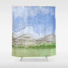 Snowy Watercolor Landscape Shower Curtain