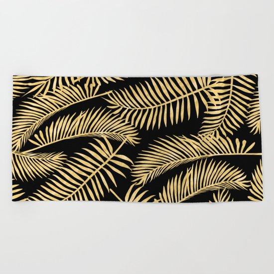 Palm Leaf Pattern Gold And Black Beach Towel