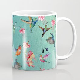 Vintage Watercolor hummingbirds and fuchsia flowers Coffee Mug