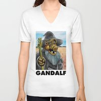 gandalf V-neck T-shirts featuring GANDALF by i live
