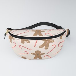 Gingerbread Man + Candy Cane Christmas Pattern Fanny Pack