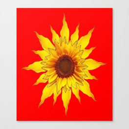 Decorative Yellow Sunflower On Chinese red Art Canvas Print