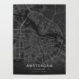 Amsterdam, Netherlands - Dark Map Poster