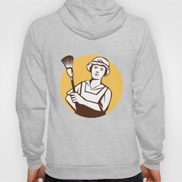 Maid Cleaner Duster Circle Retro Hoody