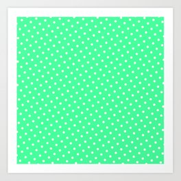 Pastel Goth Pastel Green Retro Polka Dot (White) Art Print