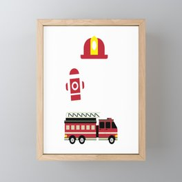 Firefighter Kid I´m 5 Birthday Gift For Boys Girl And Kids Framed Mini Art Print