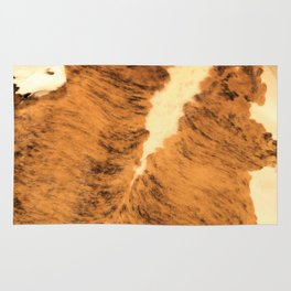 Burnt Orange Texas Longhorn Animal Leather Pattern Rug