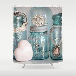 Vintage Mason Jars Shabby Chic Cottage Jeweled Decor Shower Curtain