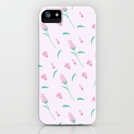 Modern blush pink coral green abstract floral illustration iPhone Case