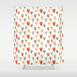 Illustrated Sketch Hearts // Orange // Yellow // Gray Shower Curtain
