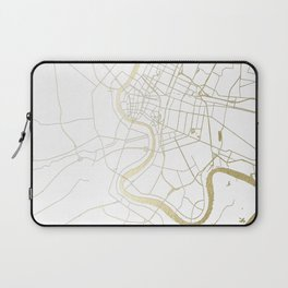 Bangkok Thailand Minimal Street Map - Gold Metallic and White II Laptop Sleeve