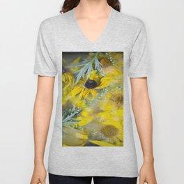 Yellow uce flowers Unisex V-Neck