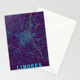 Limoges Neon City Map, Limoges Minimalist City Map Art Print Stationery Cards