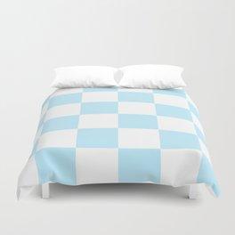 Large Checkered - White and Light Blue Duvet Cover