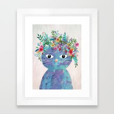 Flower cat II Framed Art Print