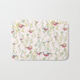 bird surface pattern design - light pastel green (Screen printed) Bath Mat