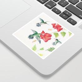 Hummingbirds and Hibiscus  Sticker