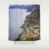 italy Shower Curtains featuring Riomaggoire, Italy  by Cindy L. Smith