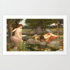 John William Waterhouse - Echo and Narcissus Art Print