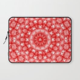 Kaleidoscope Fuzzy Red and White Circular Pattern Laptop Sleeve