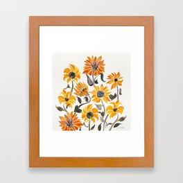 Sunflower Watercolor – Yellow & Black Palette Framed Art Print
