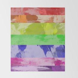 Rainbow Stripes - Abstract, textured, red, orange, yellow, green, blue, indigo, violet artwork Throw Blanket