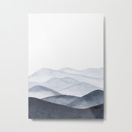 Watercolor Mountains Metal Print