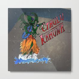 Cthula Hula Girl (Steel Look) Metal Print