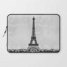 Eiffel tower, Paris France in black and white with painterly effect Laptop Sleeve