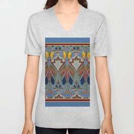 Grey-Burgundy Color & Yellow Art Nouveau Butterfly Design Unisex V-Neck