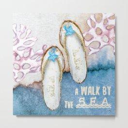 A Walk by the Sea Metal Print