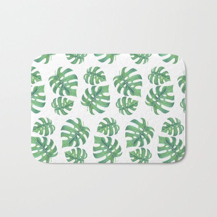 Tropical pattern with monstera leaves Bath Mat