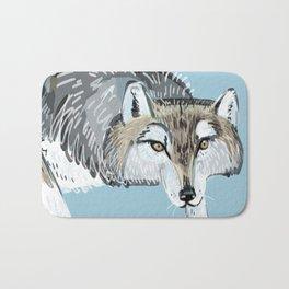 Totem Hokkaido grey wolf (Blue) Bath Mat