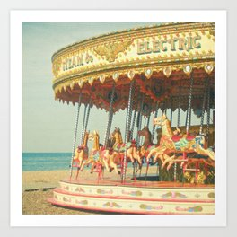 Seaside Carousel Art Print