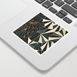 New Art Deco Geometric Pattern - Emerald green and Gold Sticker
