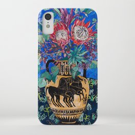 Painterly Bouquet of Proteas in Greek Horse Urn on Blue iPhone Case