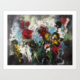 Escaping roses Art Print